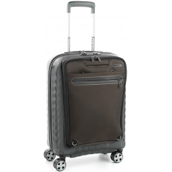 "22"" International Carry-On Spinner Smart Luggage Brown/Black"